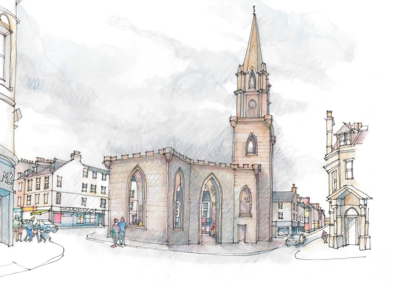 A graphic of the open space site at St Paul's Church, Perth.