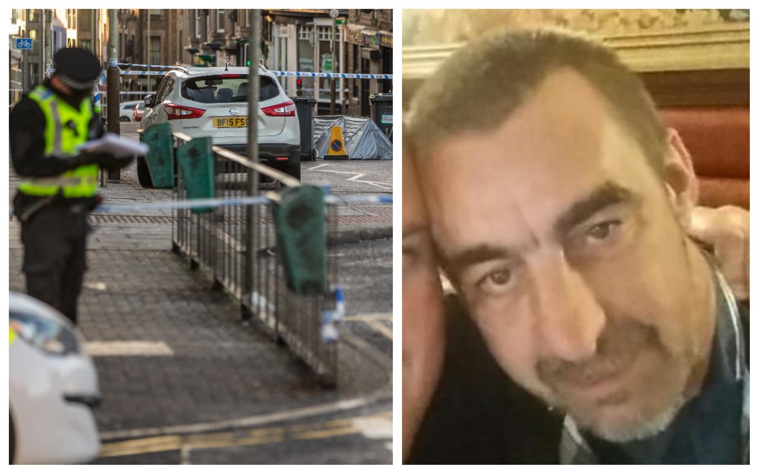Police on Albert Street after John Watt (right) was assaulted.