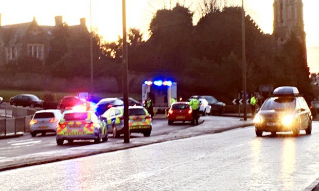 Police and ambulance crews at the scene.