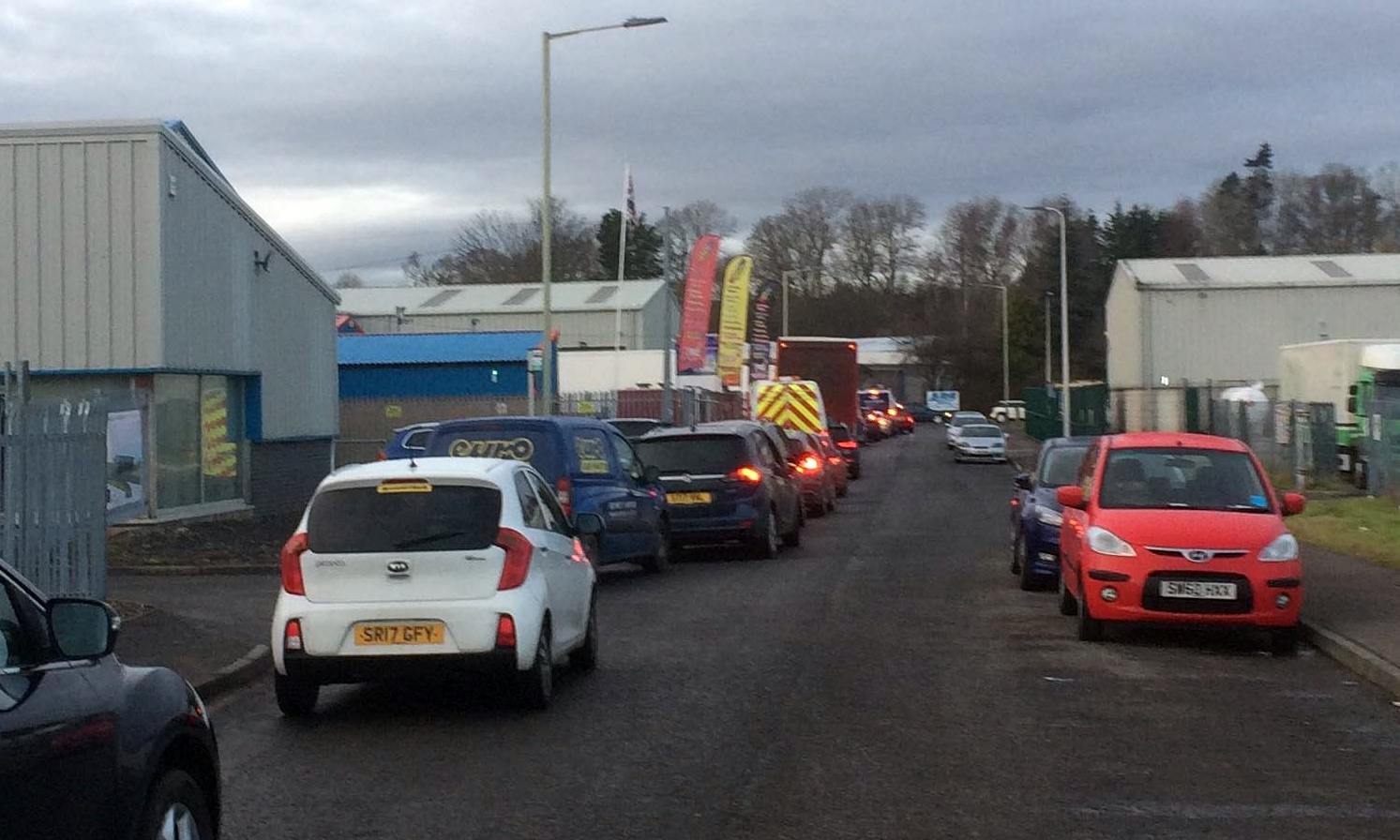 The closure of Ruthvenfield Road has caused regular tailbacks in the industrial estate.