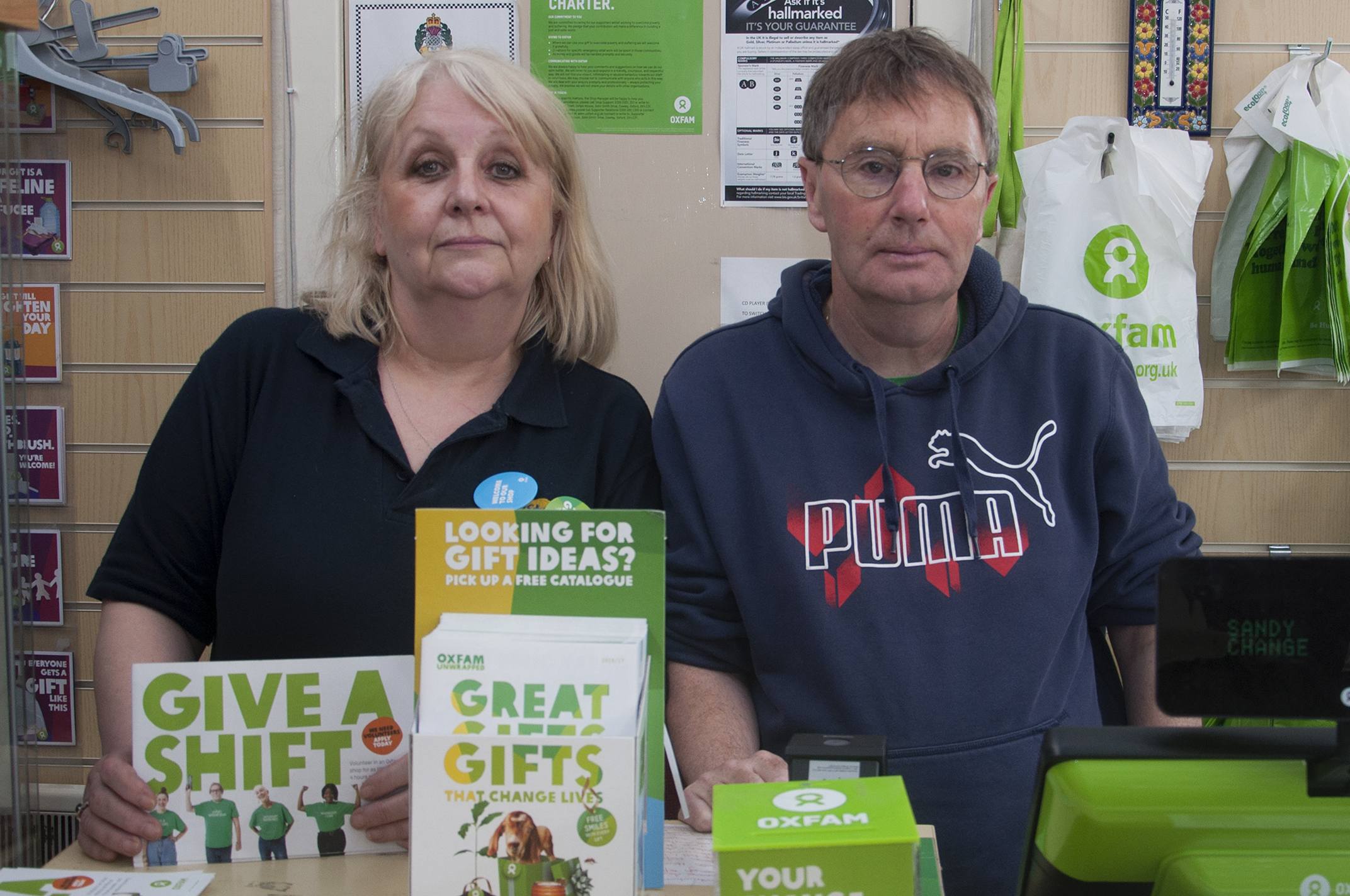 Shop Manager Lynda Stuart and Sandy Simpson at the Montrose branch