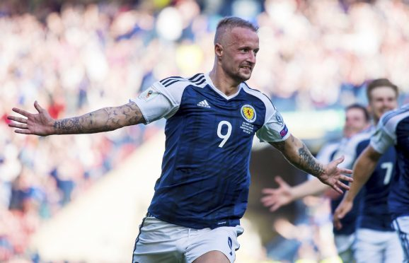 Leigh Griffiths after scoring for Scotland against England.