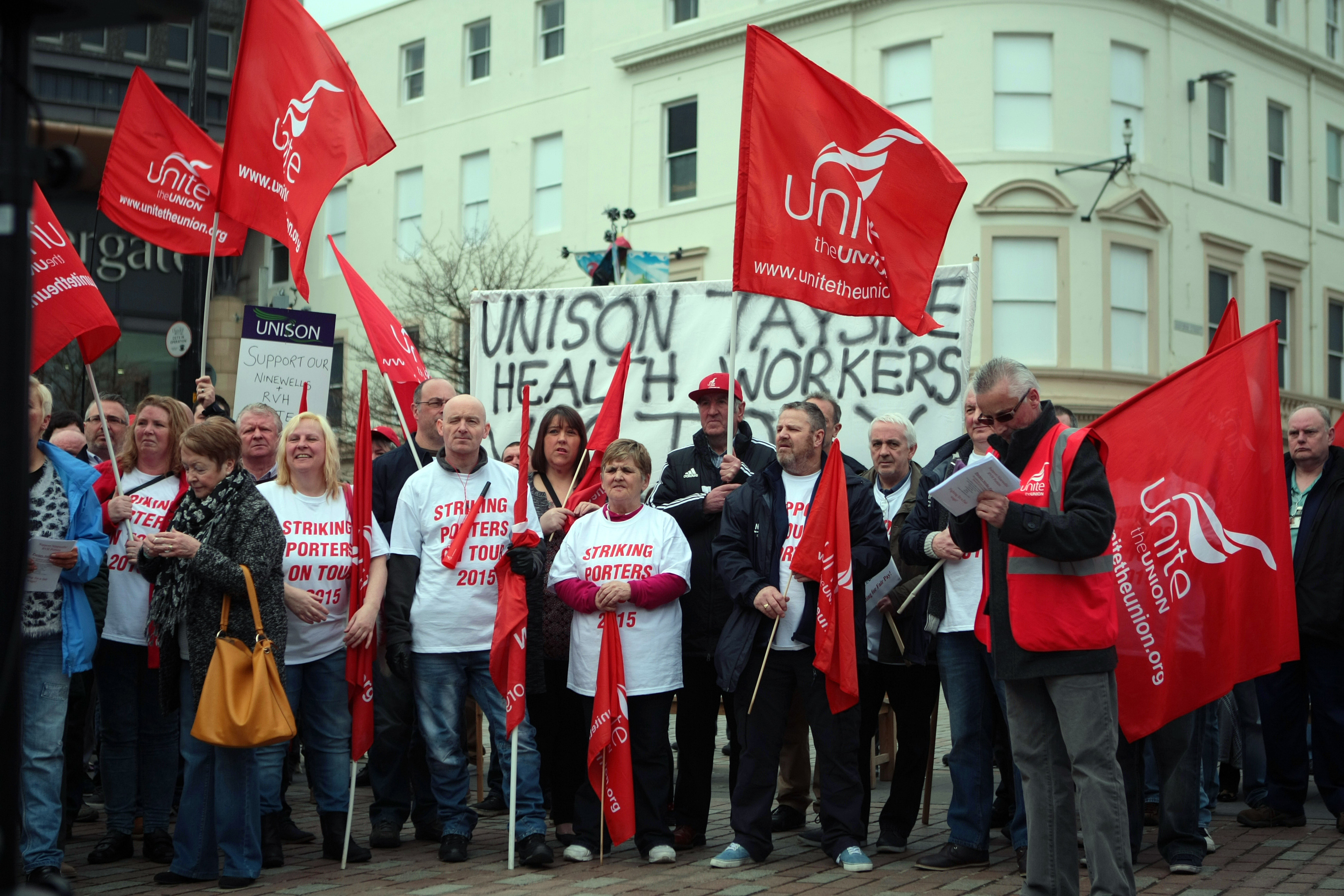 Ninewells Hospital porters holding a rally during their strike in 2015.