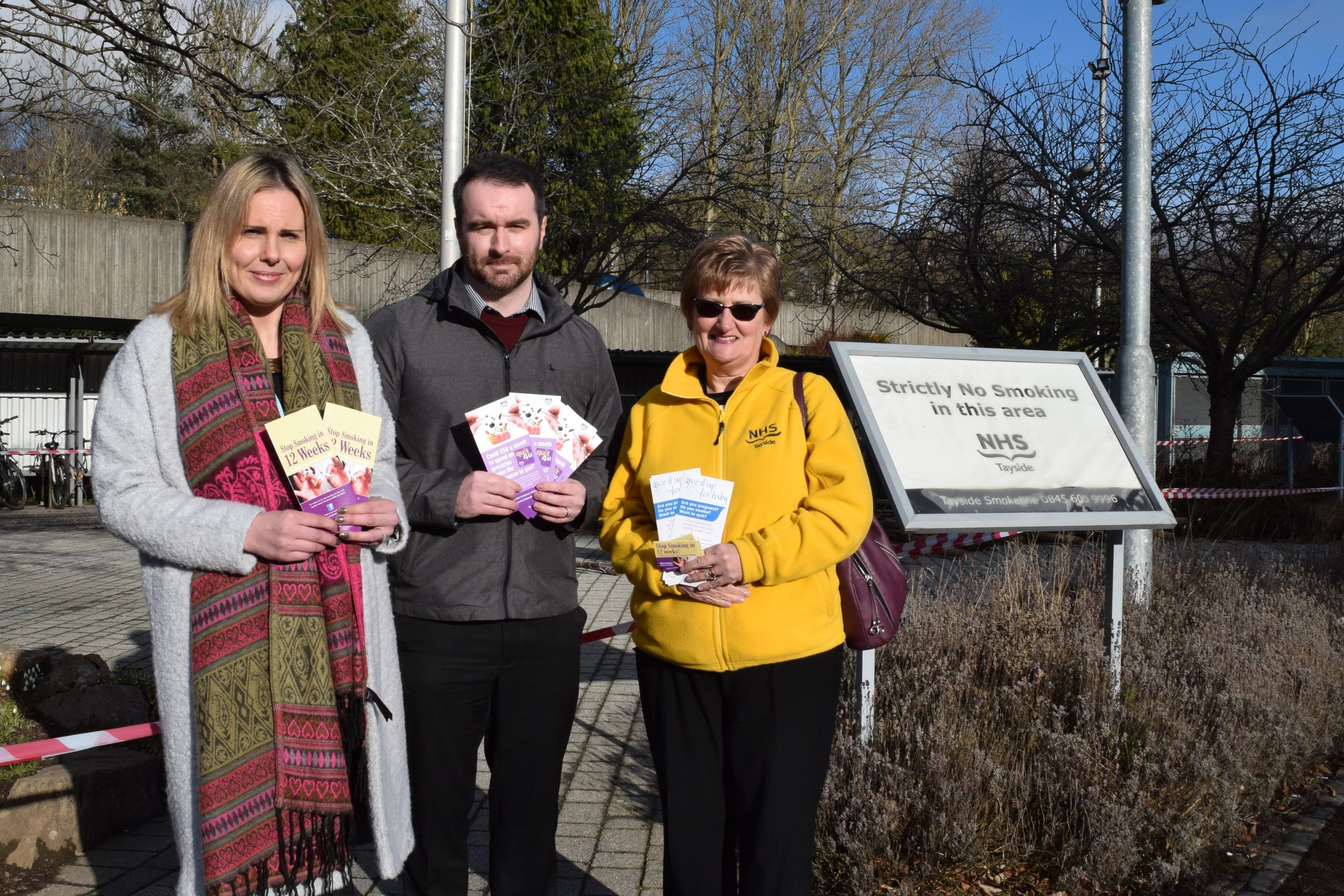 Locality site/support services manager Shona Leonard, health promotion officer Blair Finlay and NHS Tayside programme manager for tobacco Margaret Winter in the fresh air garden.