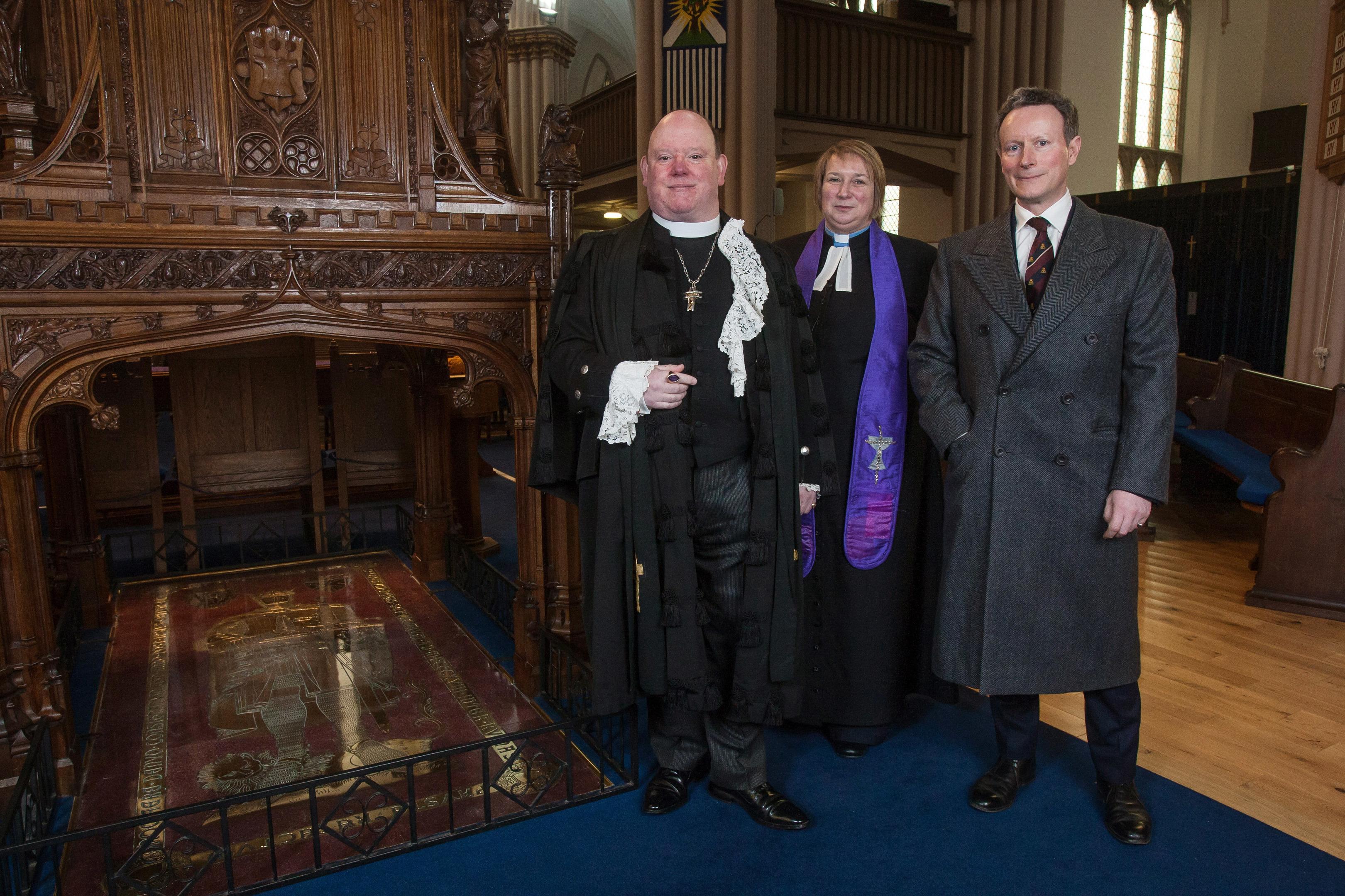 Rt Rev Dr Derek Browning, Abbey Minister Rev MaryAnn Rennie, and  Lord Charles Bruce