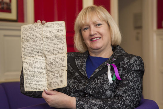 Angus councillor Brenda Durno with her great granny's essay.
