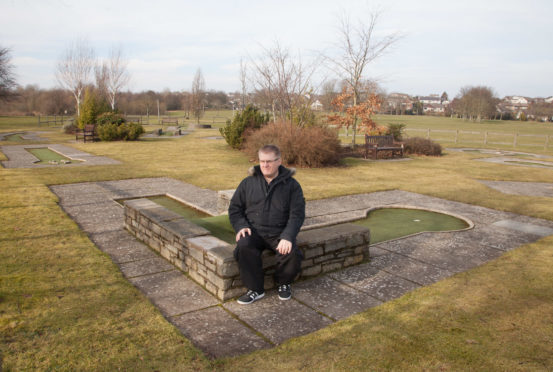 Tom O'Brien. secretary of the Forfar Community Council, at the crazy golf course next to Lochside Leisure Centre in Forfar.