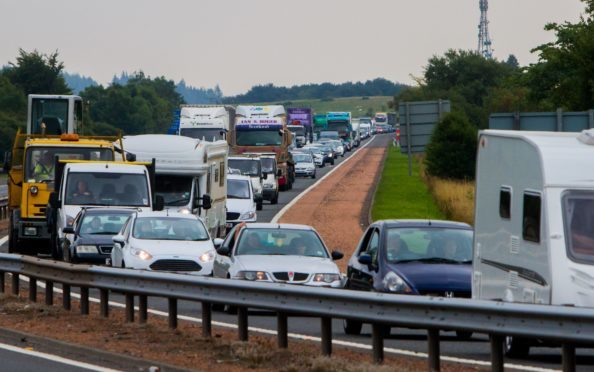Traffic approaching the Broxden roundabout.