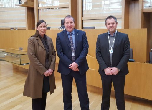 Graeme Dey MSP with Leanne Yates of Denfind Stone and Marcus Paine of Hutton Stone