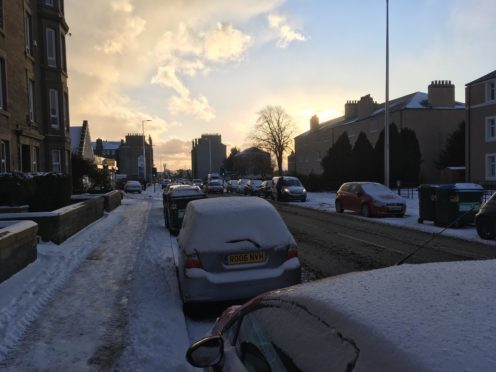 Snow on Clepington Road, Dundee on Wednesday morning.