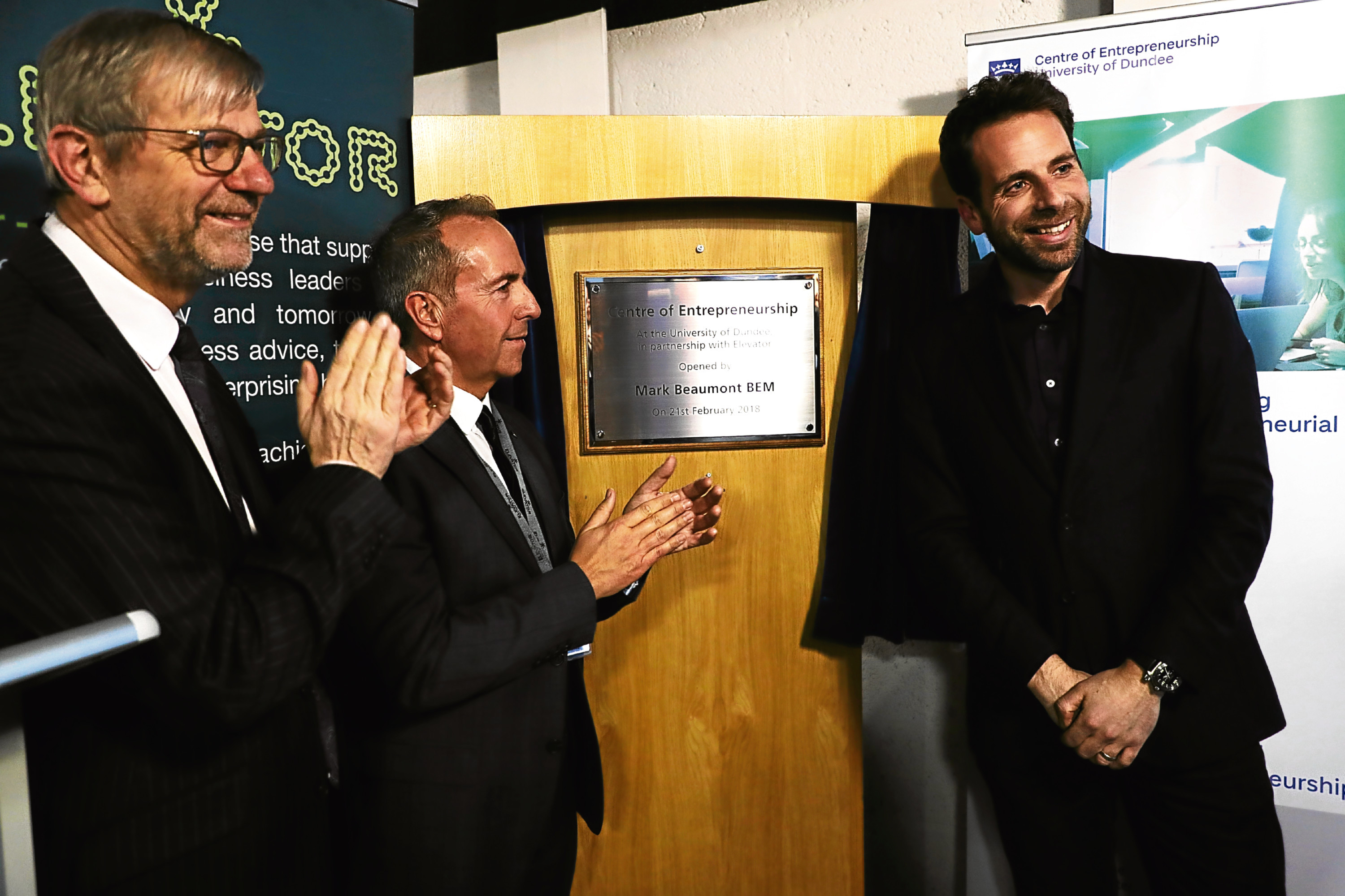 Dundee University principal Professor Sir Pete Downes, Elevator chief executive Professor Gary McEwan and cyclist and university rector Mark Beaumont.