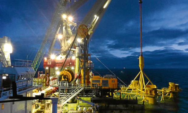A subsea jacket being installed for the SSE-led Beatrice wind farm