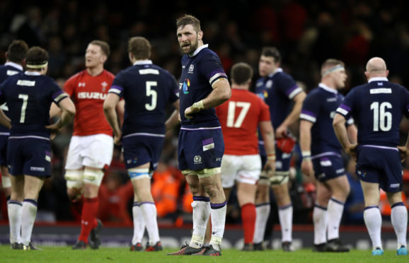 A dejected Scotland captain John Barclay at the end of the 34-7 defeat to Wales in Cardiff.