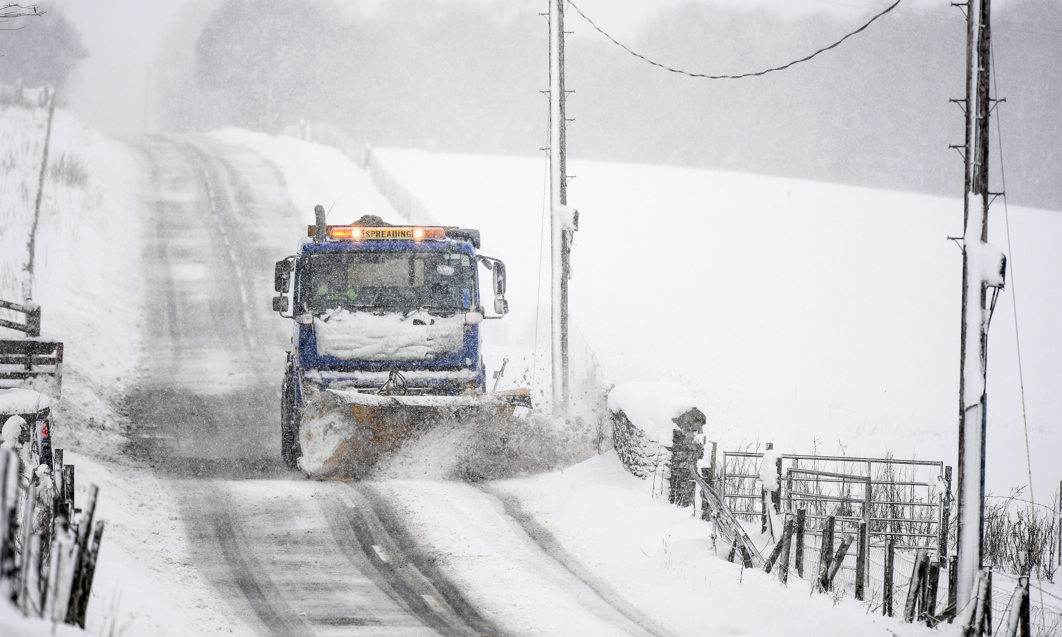 A snow plough on the A93 at the Spittal of Glenshee.