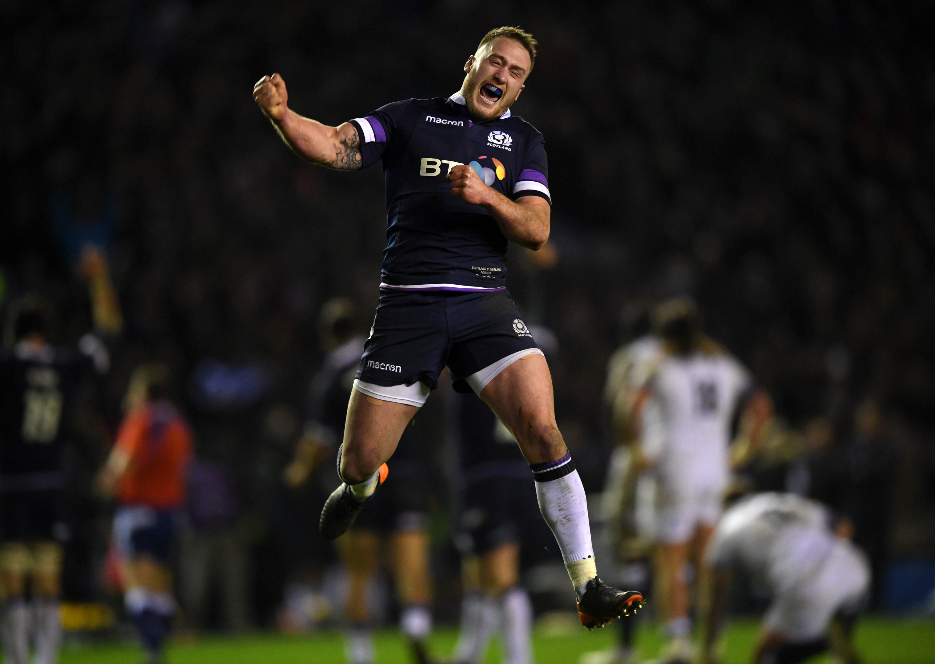 Stuart Hogg celebrates at the end of Scotland's Calcutta Cup victory.