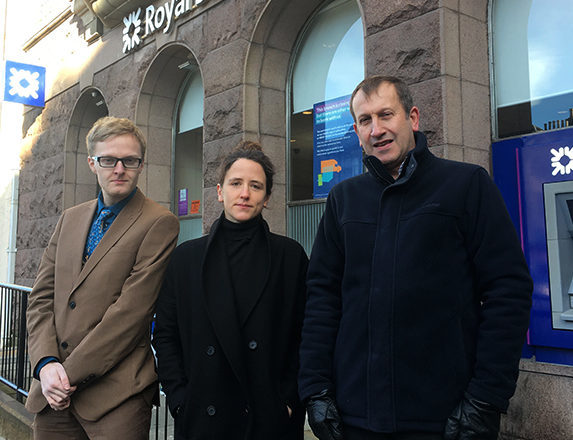 Councillor Leigh Wilson (Mearns), Mairi Gougeon MSP (Angus North and Mearns) and Councillor Bill Duff (Montrose) outside RBS Montrose branch in February.
