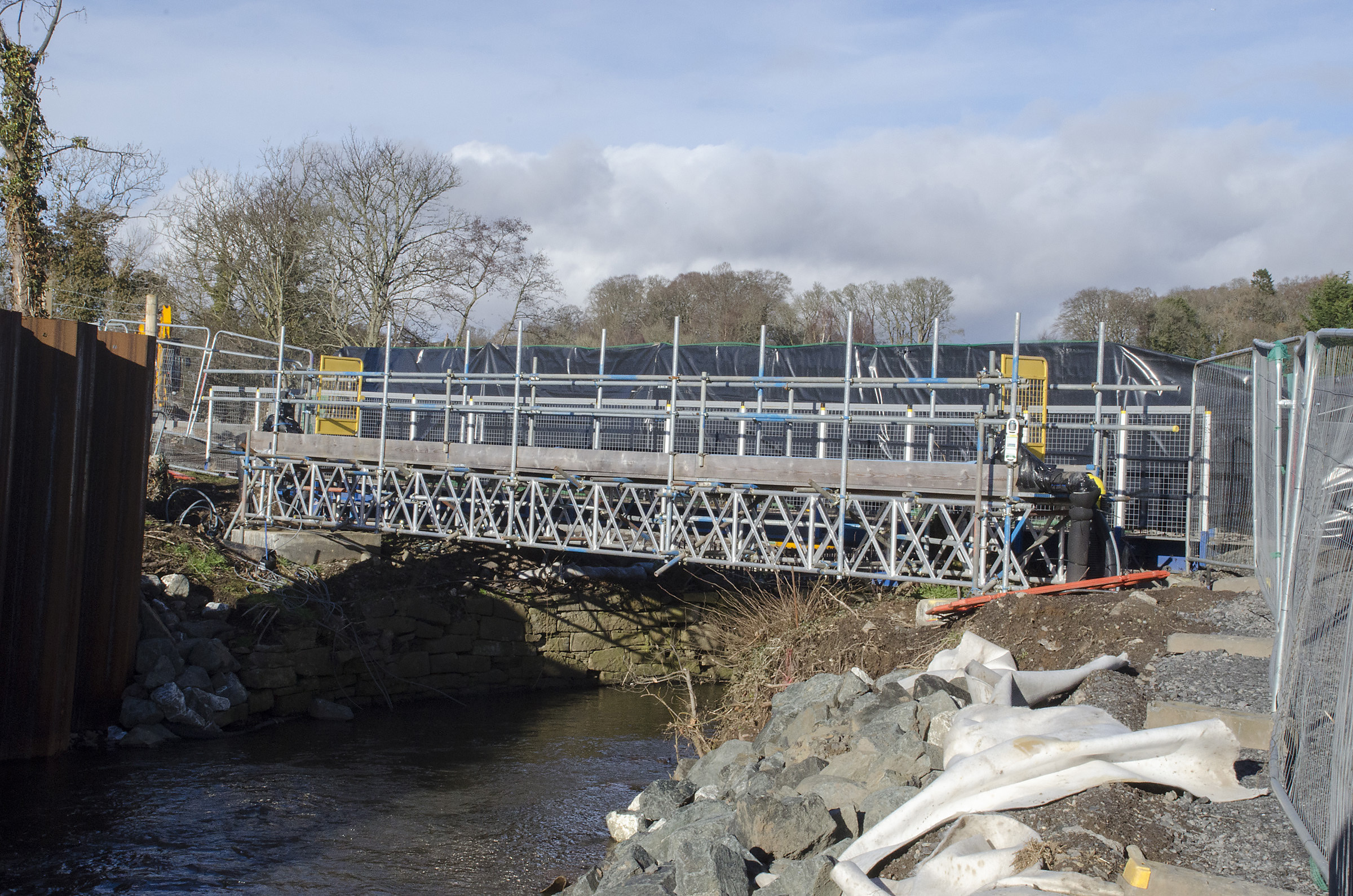 The River Almond bridge has needed to be rebuilt as part of the development.
