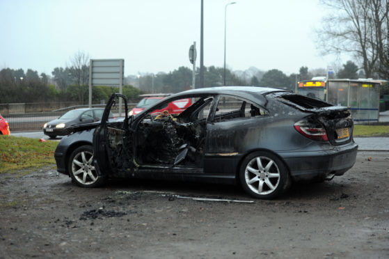 Over the weekend a car was burnt out in Caird Park next to Forfar Road.