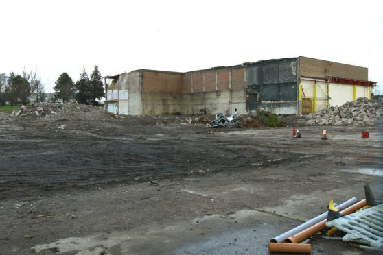 The partially demolished former Stewarts Cream Of The Barley factory at Kingsway East in Dundee.