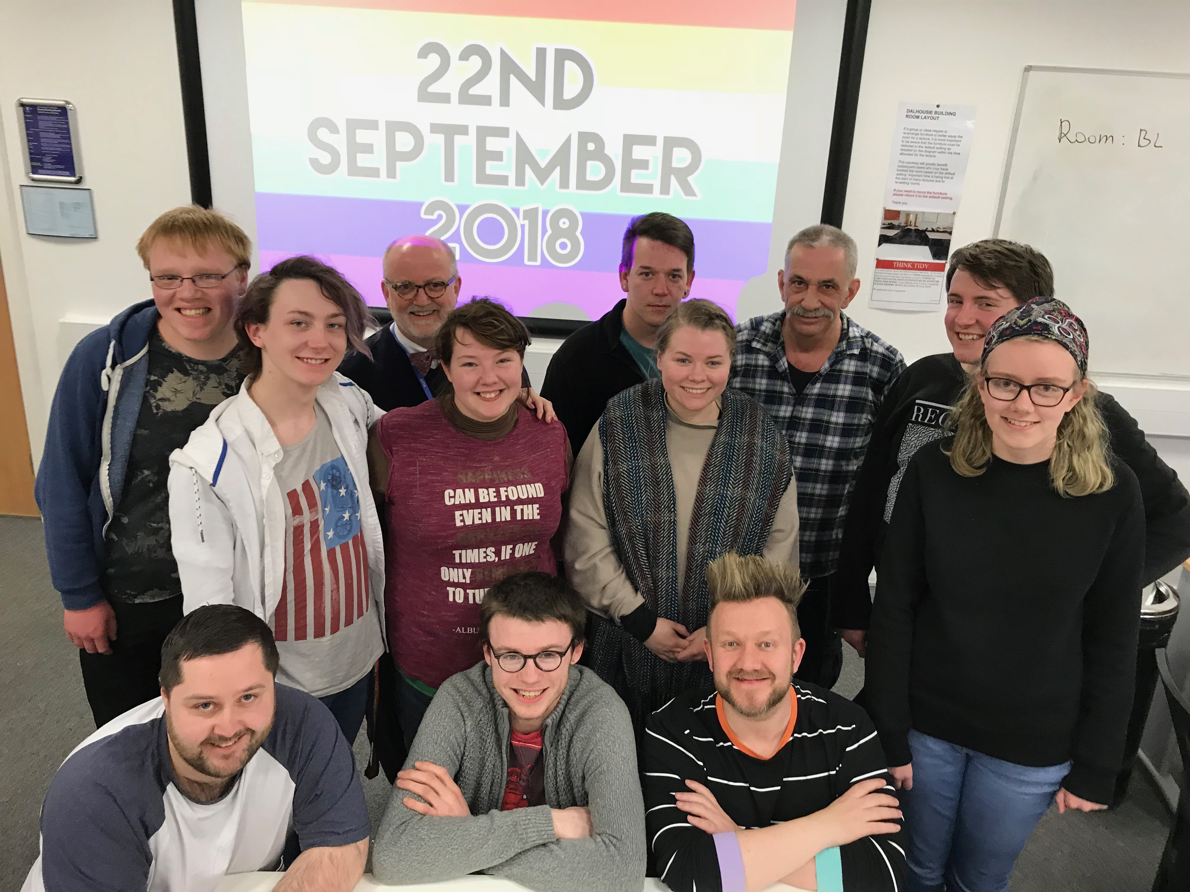 Dundee Pride board members and volunteers celebrate the launch date.