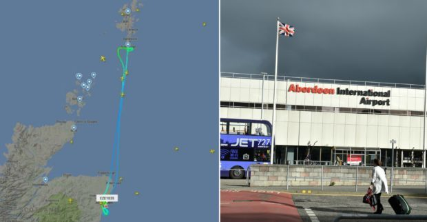 The path of the plane as indicated on Flightradar24, left, and Aberdeen Airport, right.