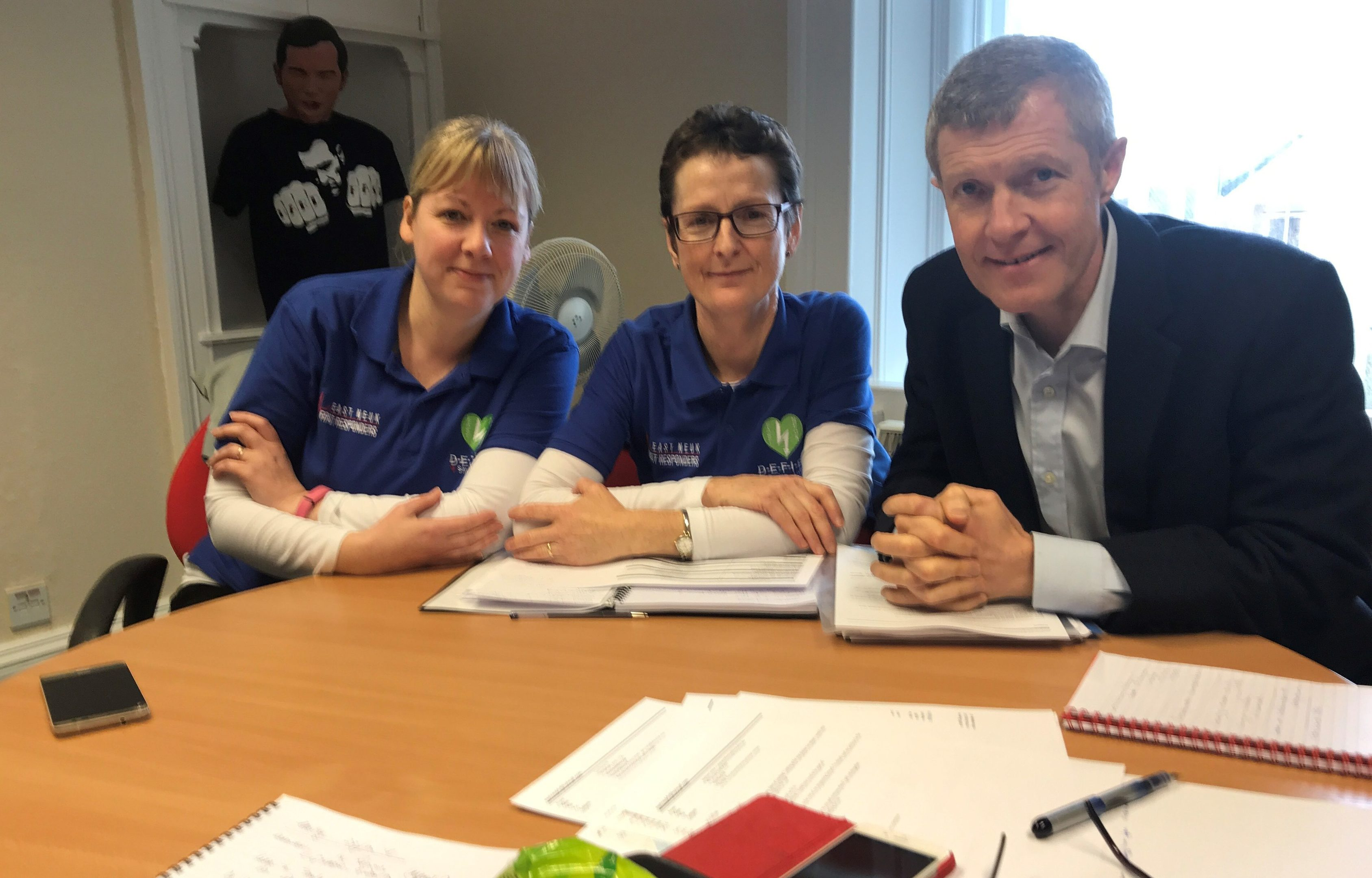 Willie Rennie is pictured with East Neuk First Responders Gillian Duncan and Emma Gilmour who want the Scottish Ambulance Service to use Good Sam.