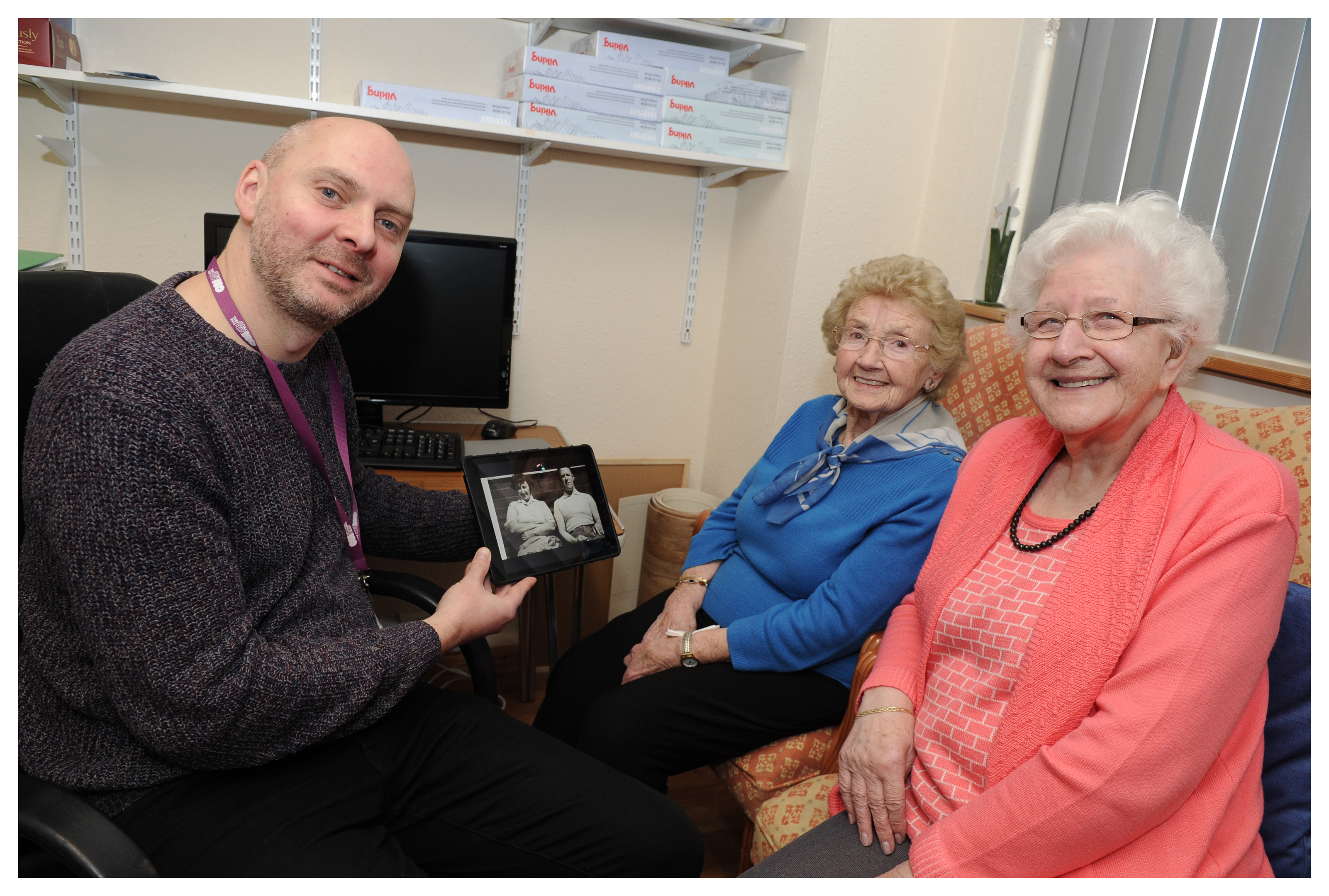 Dan Brown videographer,chats to some of the ladies who attend the Age Concern in Glenrothes,  Cathy Steward  and Isa Murray.