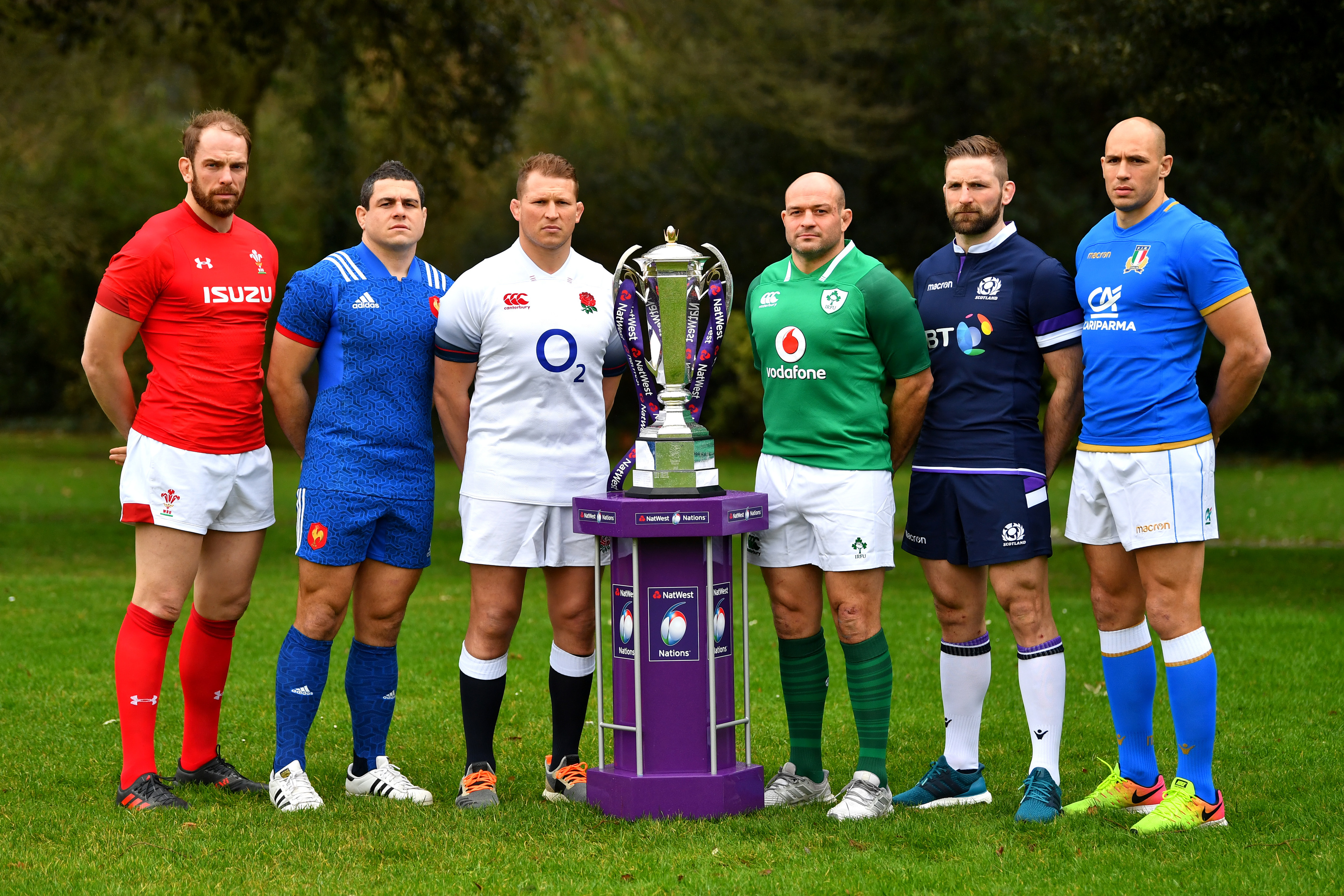The captains of the NatWest 6 Nations Championship for 2018 with the trophy.