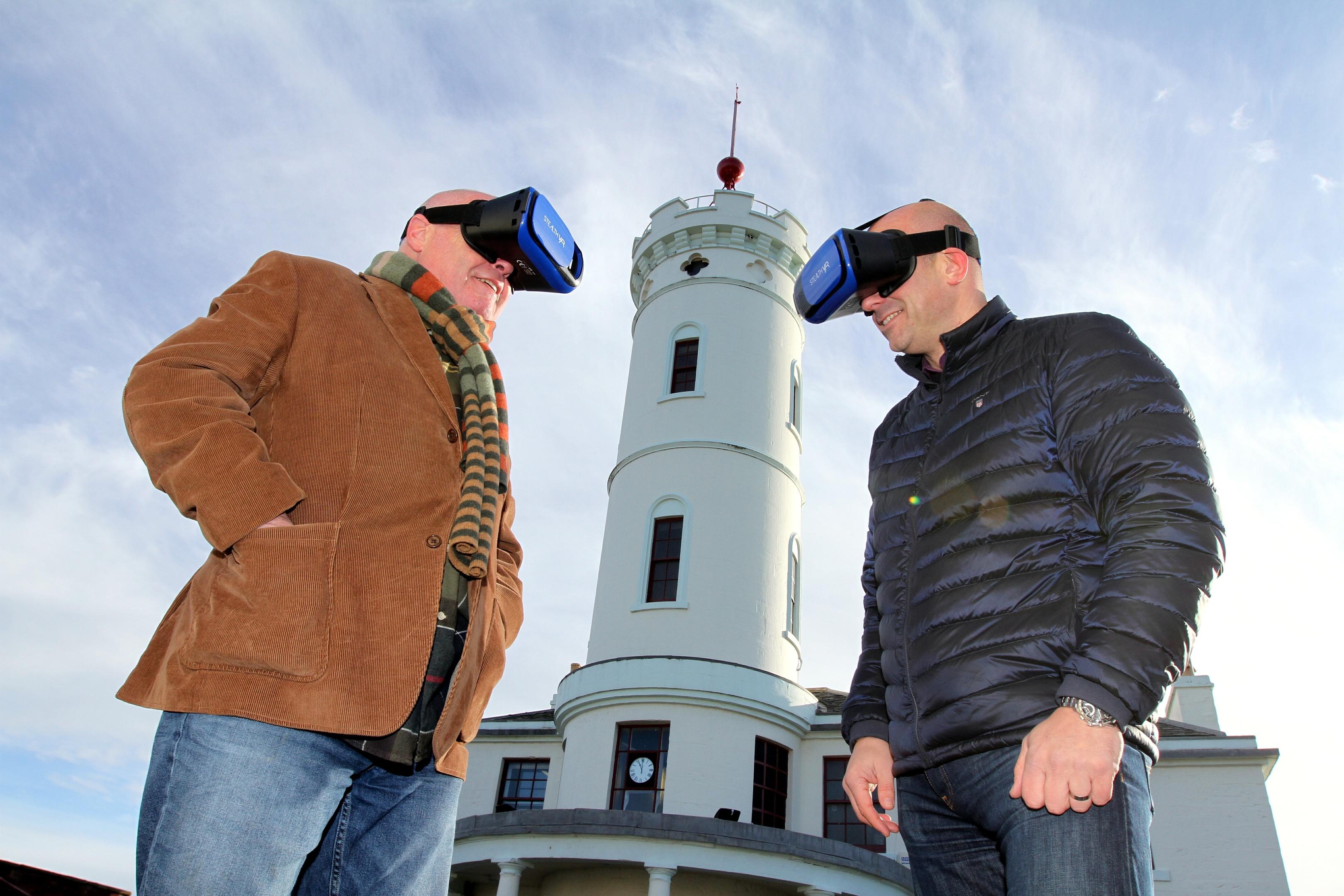 Councillors Derek Wann and David Fairweather  promoting virtual tours of Angus.