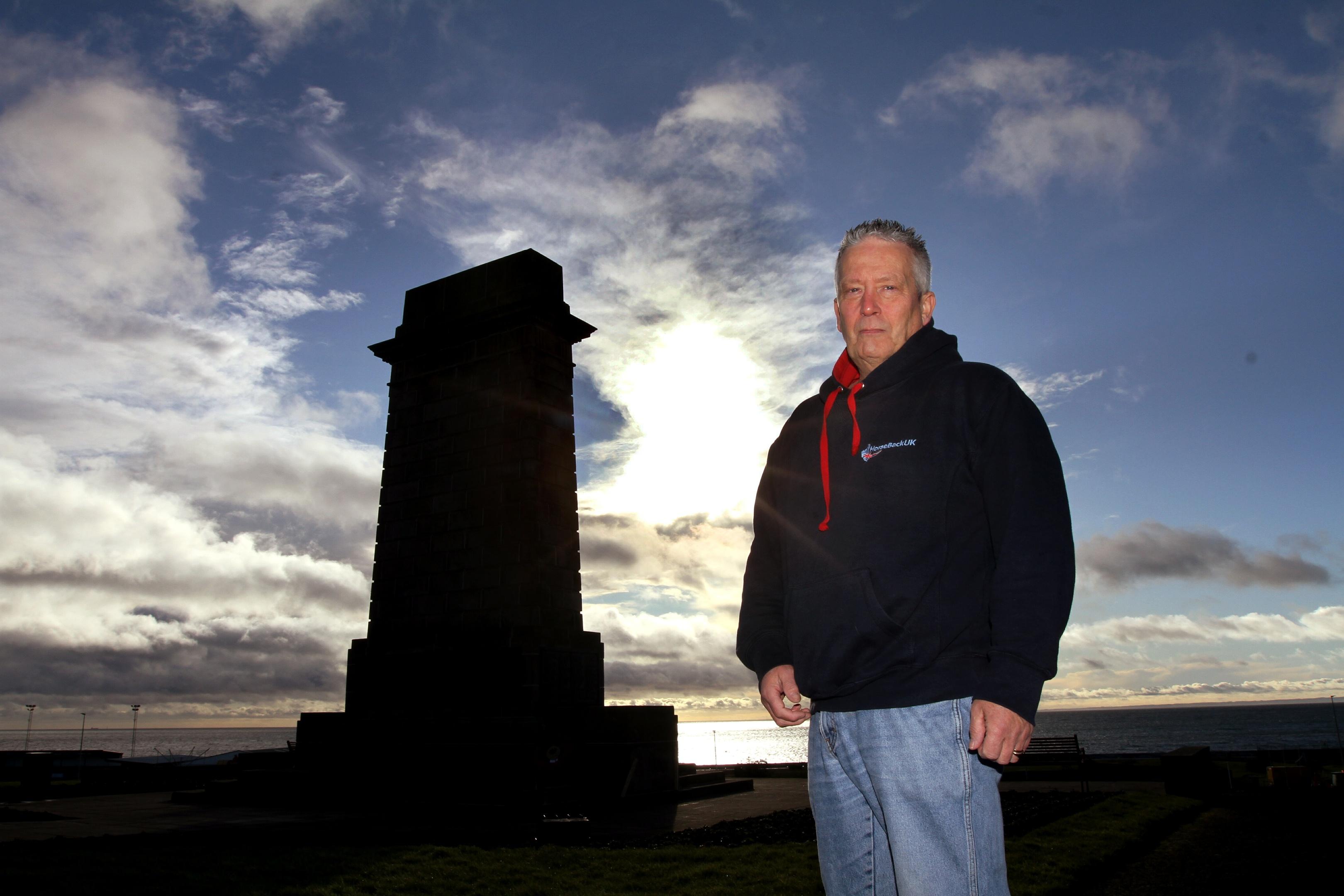 Ian Wren at the Arbroath war memorial.