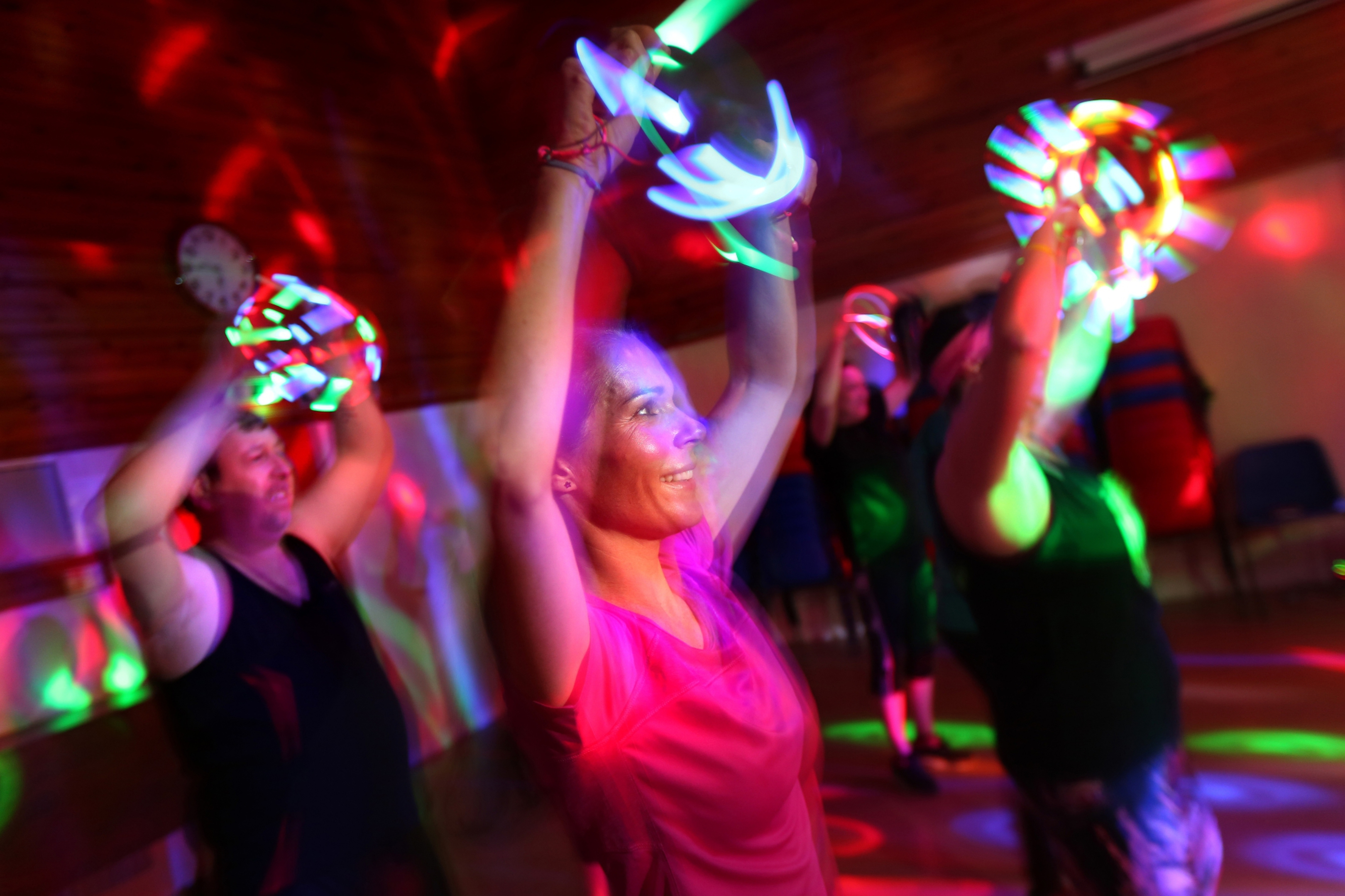 Gayle and others taking part in Clubbercise.