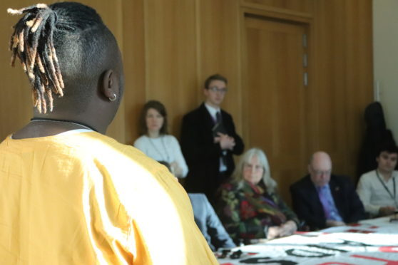 Campaigner Kennedy Mwendwa speaking at a recent event.