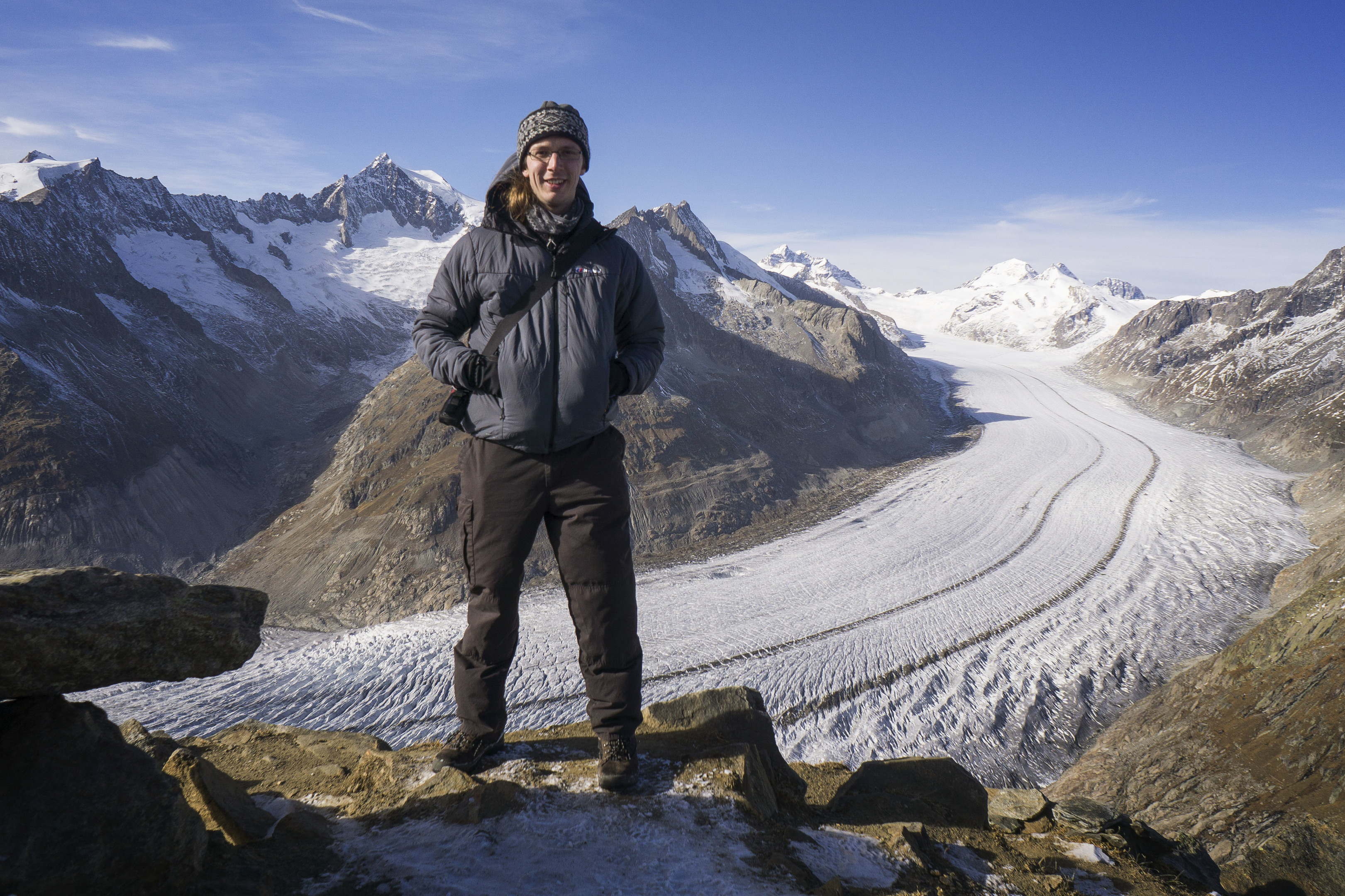 Kieran Baxter, who has exactly replicated an aerial photograph of the Alps taken more than 100 years ago.