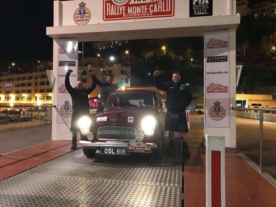The Ford Prefect of David Tindal, Alan Falconer and Stephen Woods at the Monte Carlo finish line