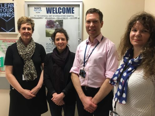 Lynn Smith, NHS Tayside general manager - Access Directory, Mairi Gougeon MSP, Stuart Keys, NHS Tayside Clinical Services Manager and Lorna Wiggin, NHS Tayside Chief Operating Officer)