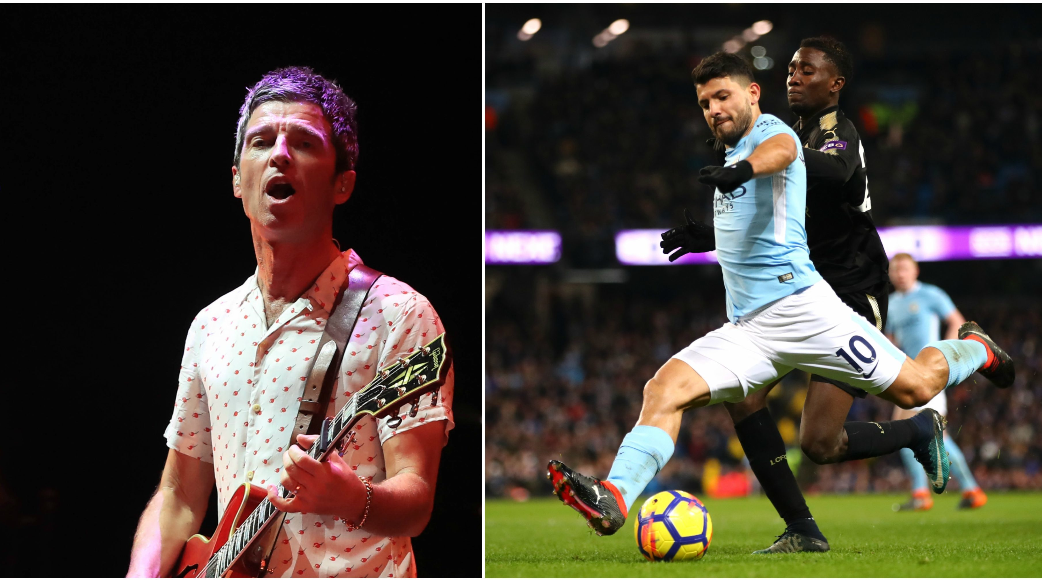 Noel Gallagher, left, and Sergio Aguero of Man City, right.