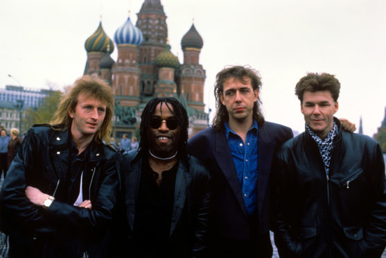 The classic Big Country line-up in Moscow  for a concert in 1988. From left, Bruce Watson, Tony Butler, Mark Brzezicki and Stuart Adamson.