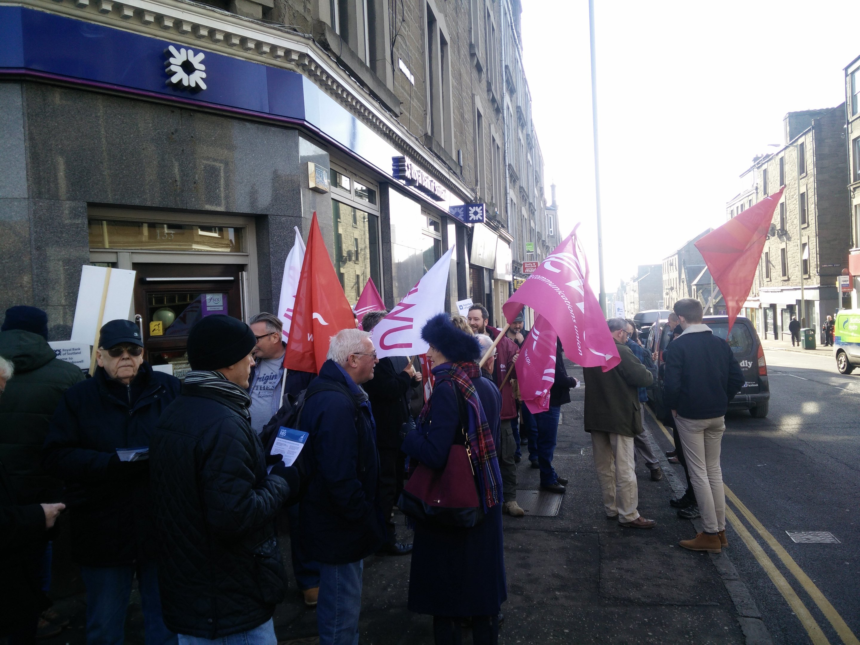 Protesters outside Stobswell's RBS branch on Albert Street