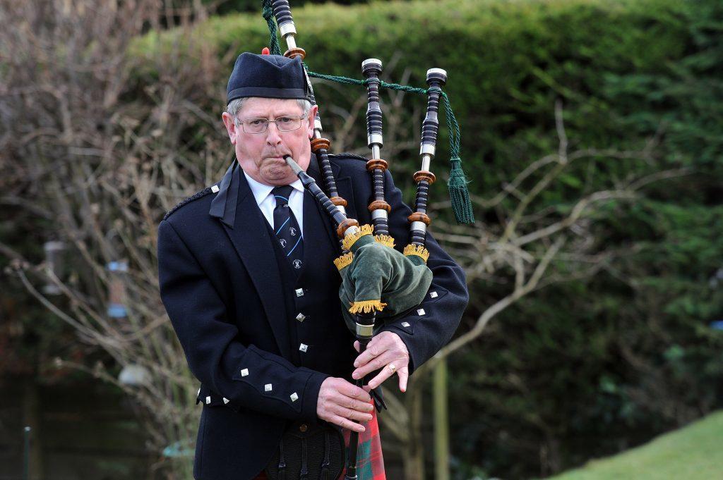 Douglas Provan practices in his back garden in Cupar