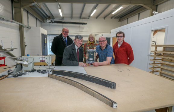 Photo caption: From L/R: Fife Council Service Manager George Sneddon, Chair of the council's Economy, Tourism, Strategic Planning and Transportation Committee Cll Altany Craik, with Little Thistle Staff, Tracey Hinds, Kevin Fleming, and Gregor Fleming.