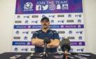 Scotland coach Dan McFarland speaks to the press at Oriam.
