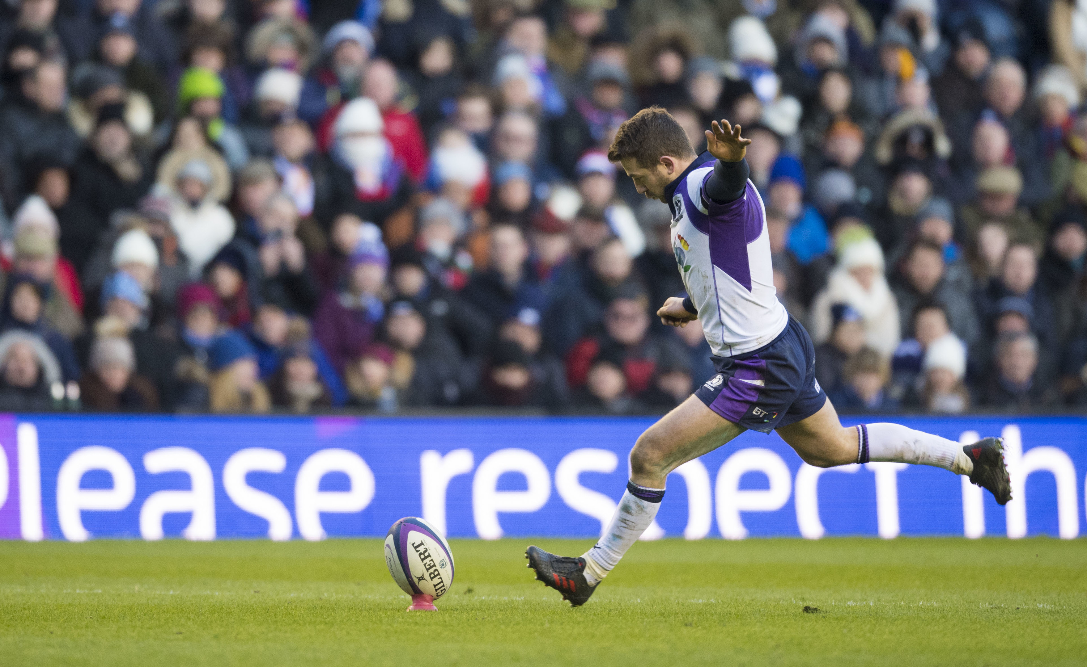 Scotland's Greig Laidlaw kicks the penalty that put Scotland 29-26 ahead at Murrayfield.