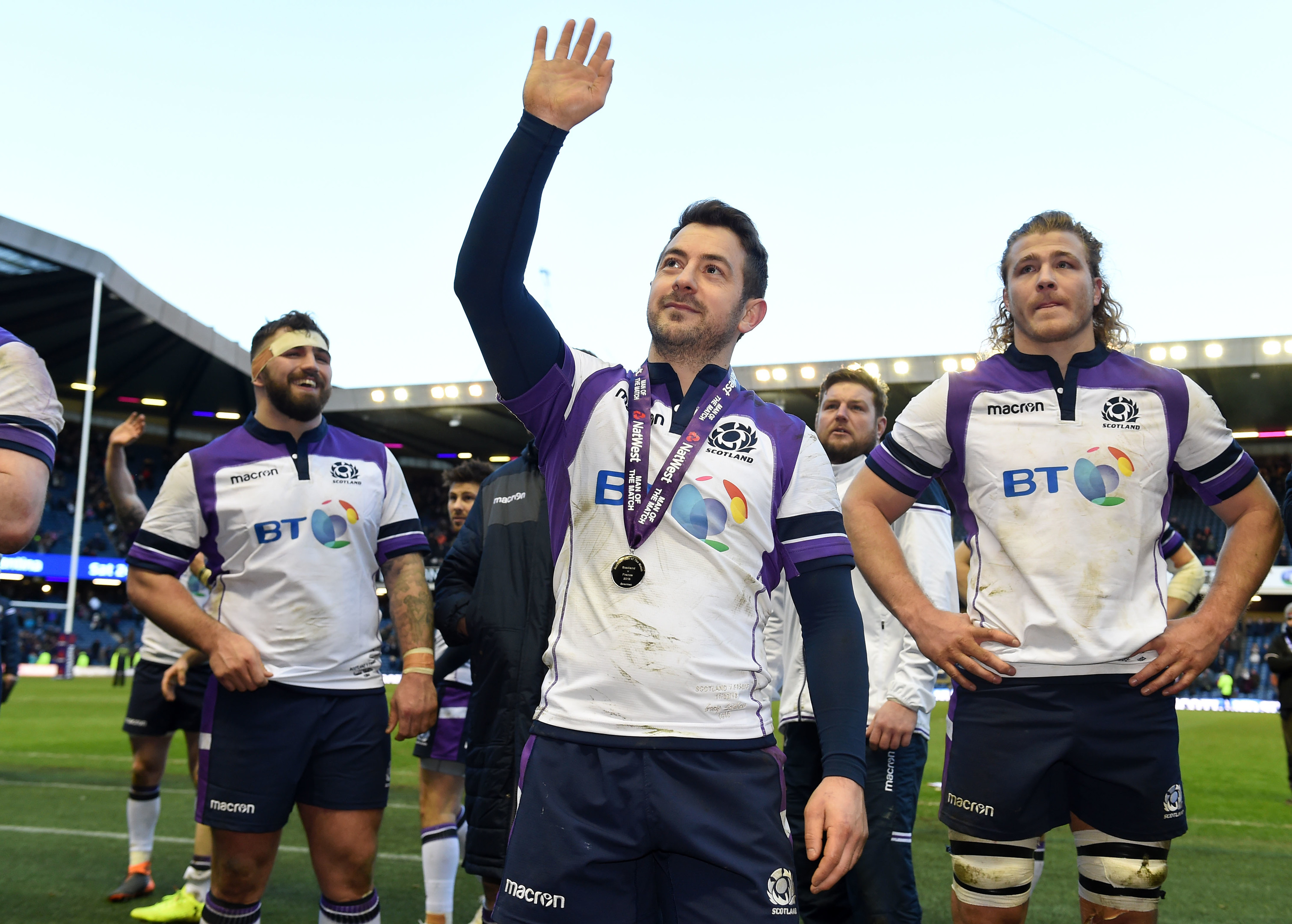 Man of the match Greig Laidlaw takes the applause of the Murrayfield crowd at full time