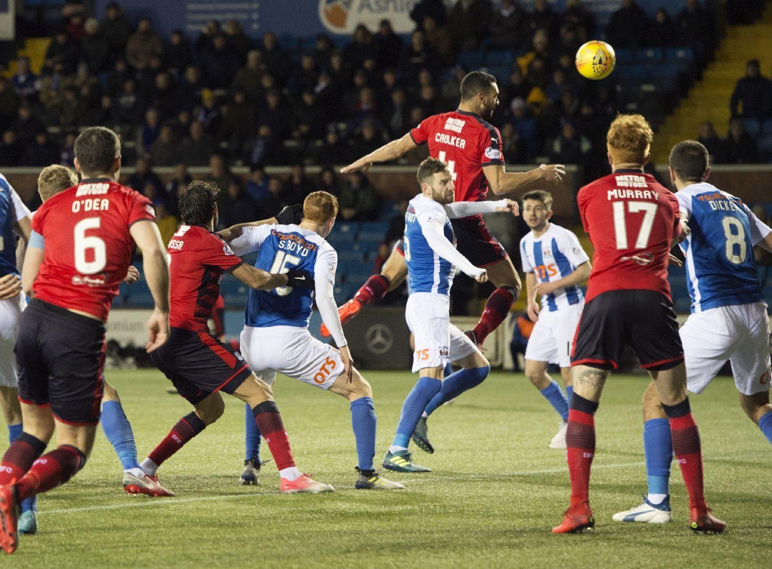 Dundee's Steven Caulker scores to make it 2-1 against Kilmarnock.