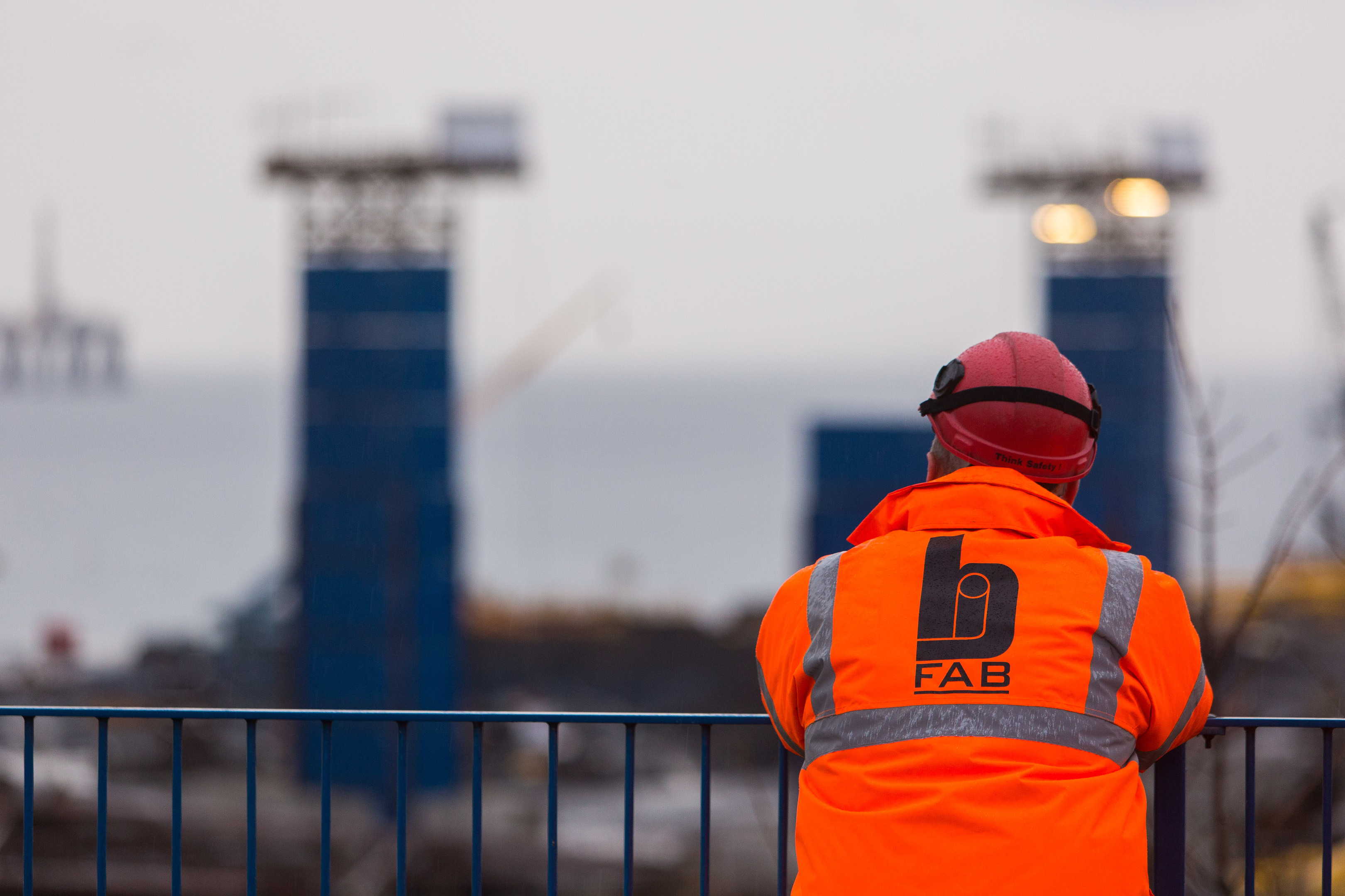 A worker looks out over the yard at BiFab in Methil.