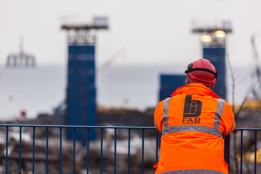 A worker looks out over the BiFab yard at Methil.