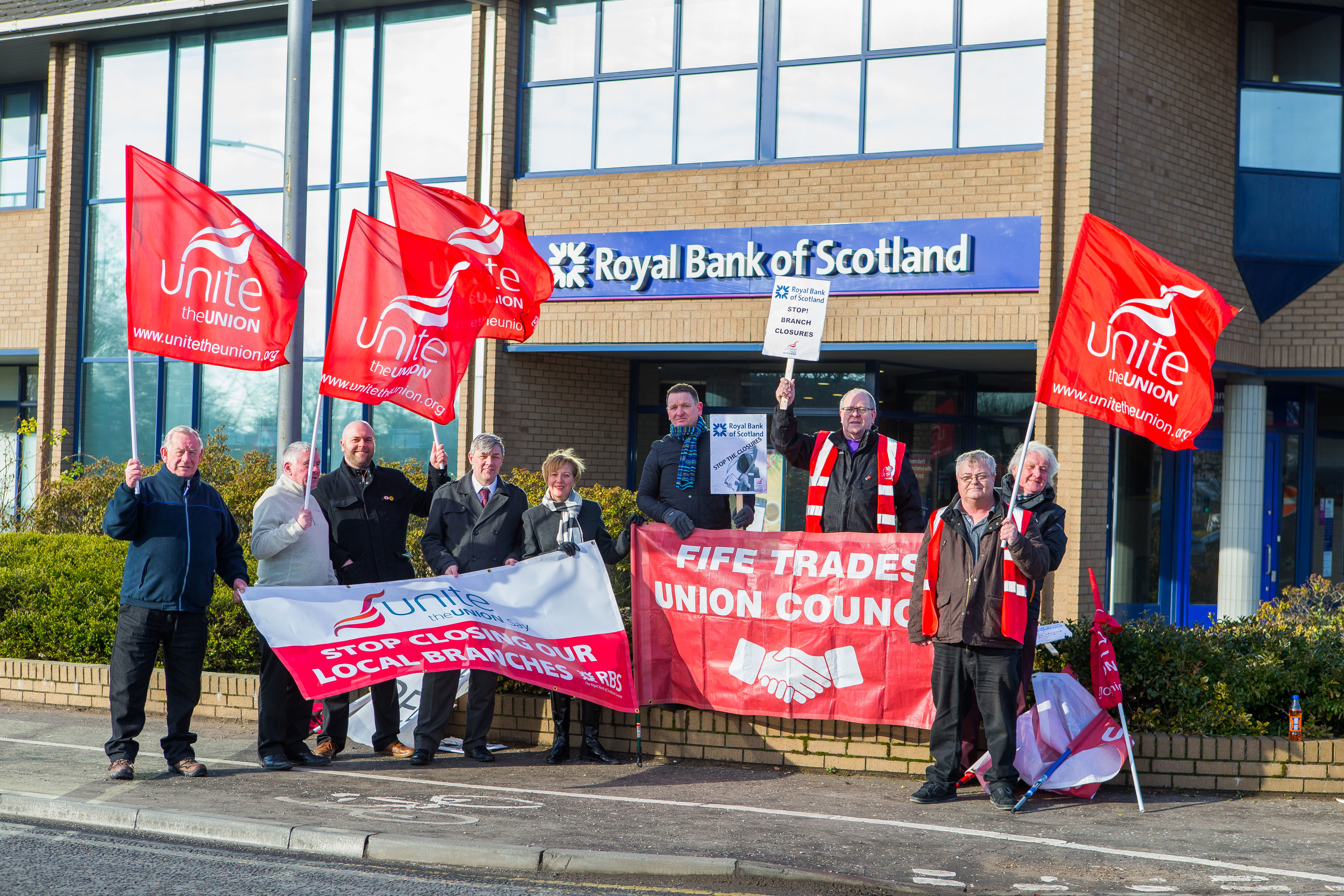 Unite protesting outside RBS in Kirkcaldy over closures of local branches.