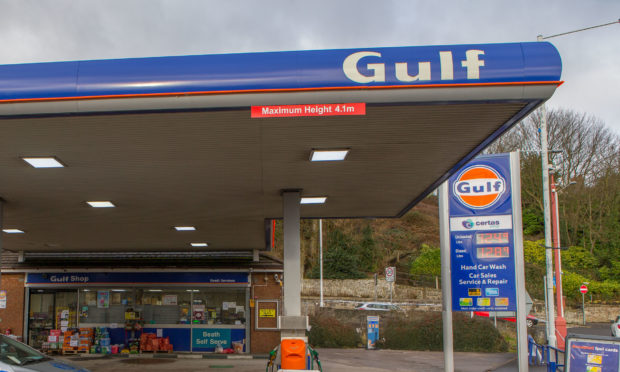 The Gulf petrol station on High Street, Cowdenbeath after the robbery