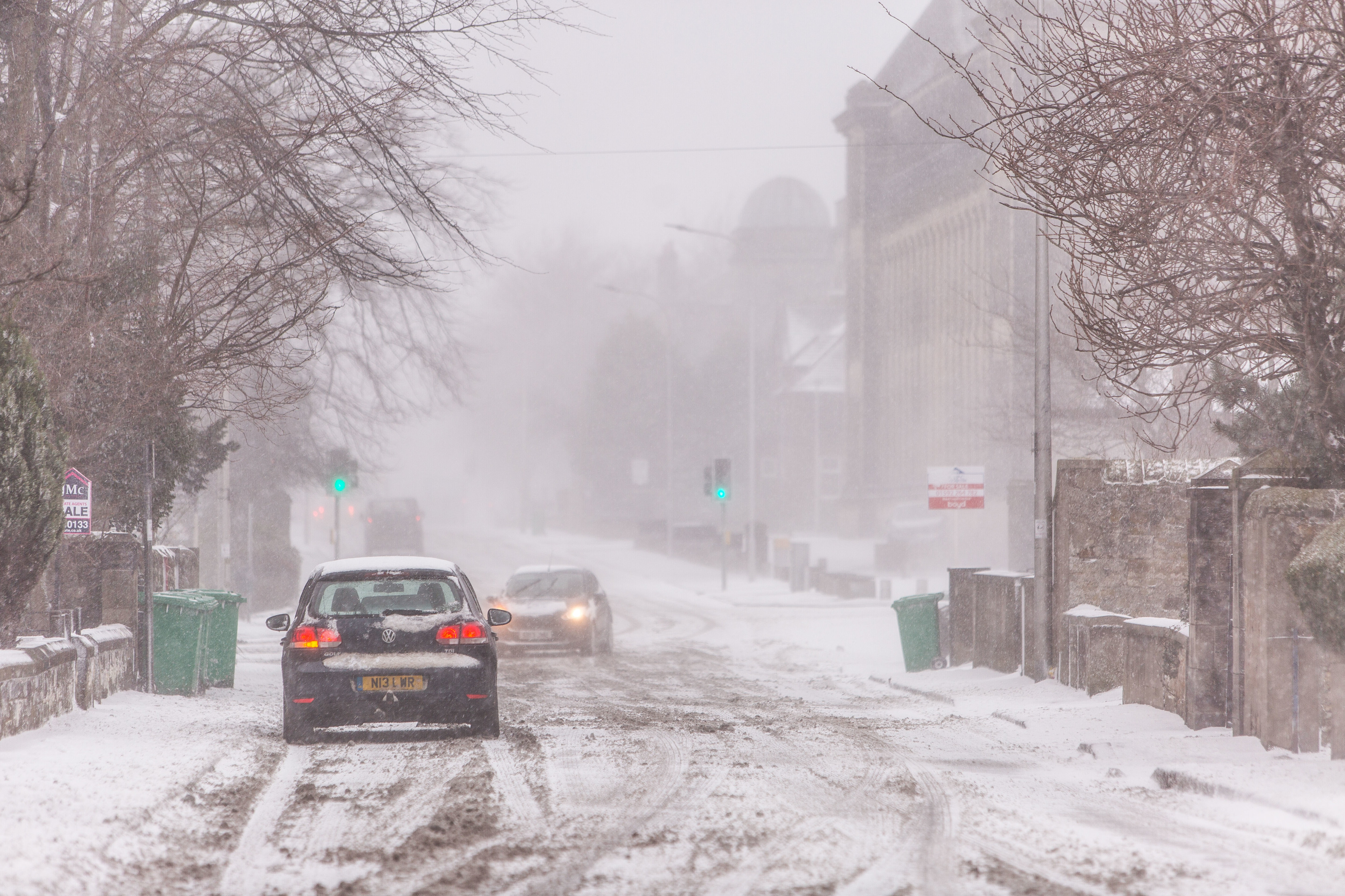 Kirkcaldy during snowy weather on Wednesday.