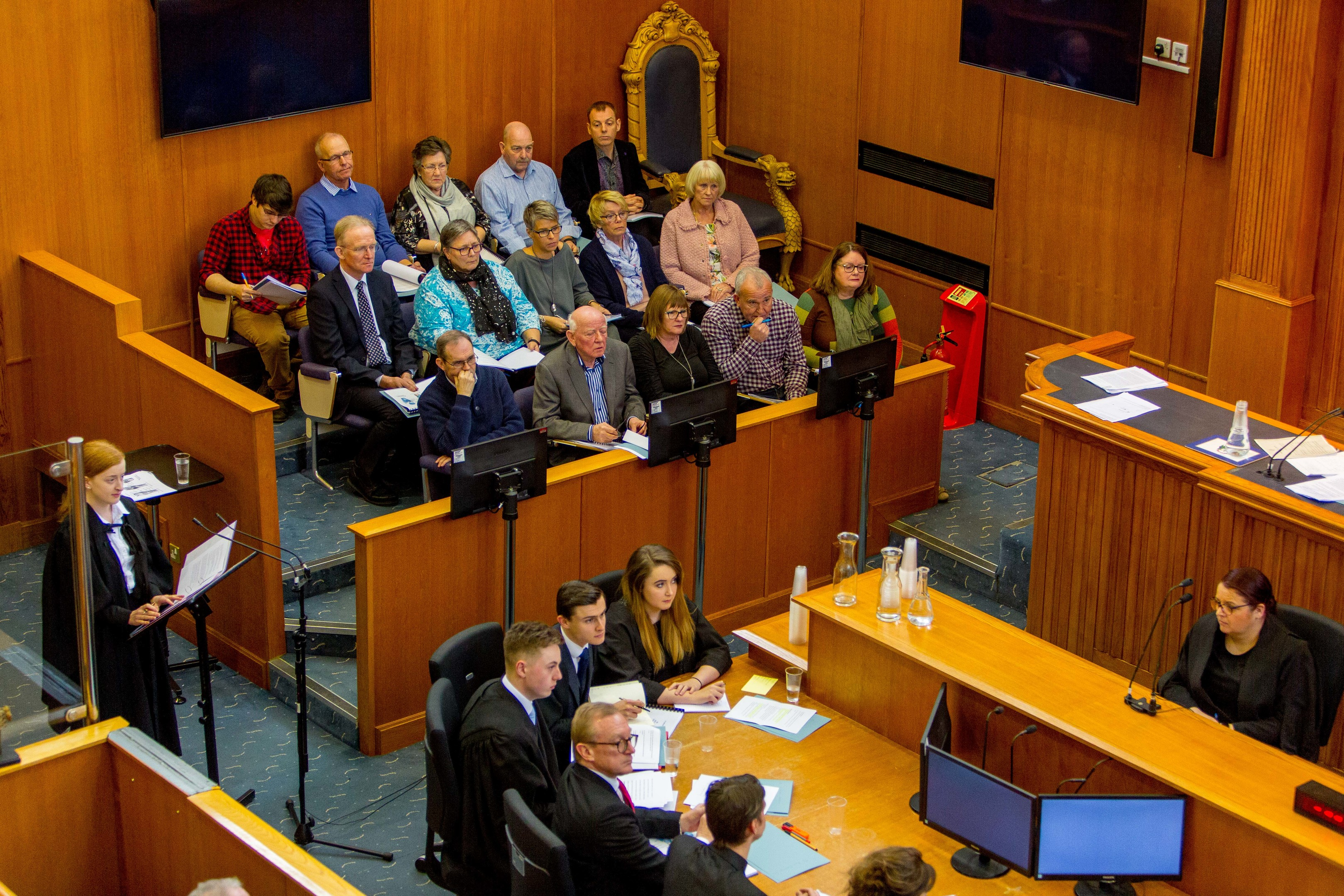 """The Court Room at Dundee Sheriff Court during the """"trial"""" of William Bury"""